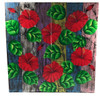 """Hibiscus Flower Painting on Wood Planks 24"""" X 24"""" Rustic Wall Decor 