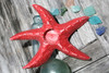 "Starfish Candle Holder 9"" - Rustic Coastal Red | #ata1801122r"