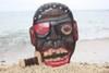 "PIRATE HEAD W/ KNIFE WALL PLAQUE 12"" - PIRATE DECOR"
