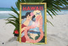 "VINTAGE SIGN ""HAWAII, PANAM"" - 24"" X 16"" HAWAIIAN SURF DECOR"