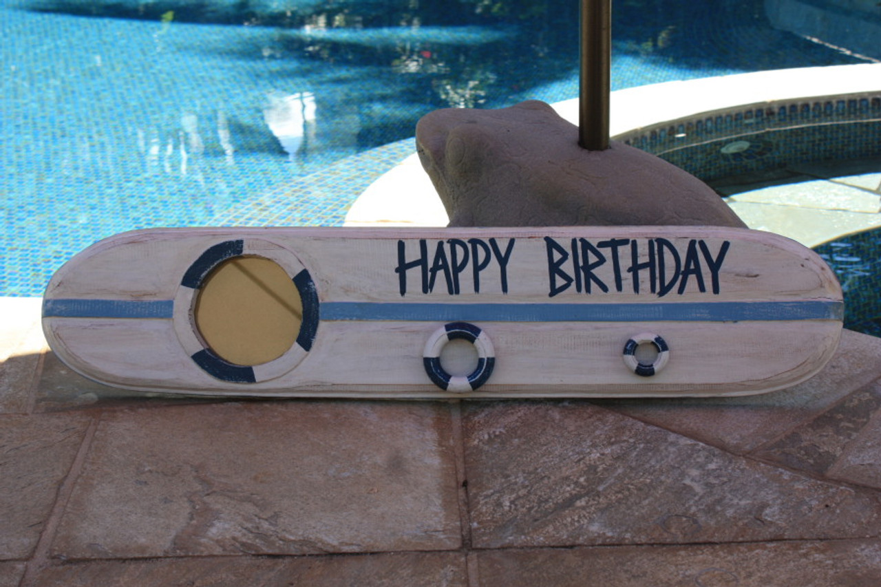 Happy Birthday Nautical Sign w BuiltIn Photo frame 40