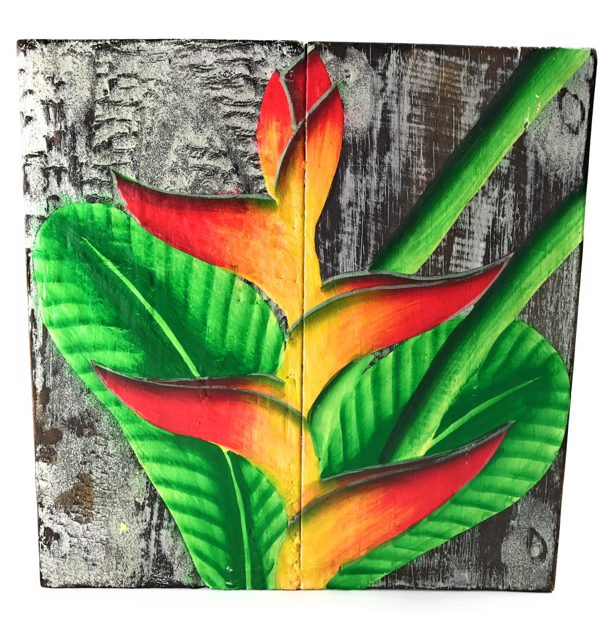 Heliconia Flower Painting On Wood Planks 8 X Rustic Wall Decor