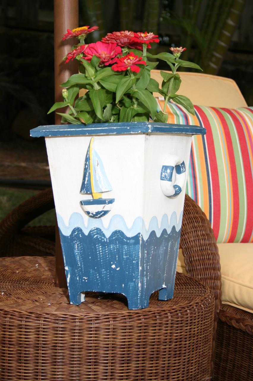 Planter Nautical Decor 12 Quot Blue Amp White Nautical Decor