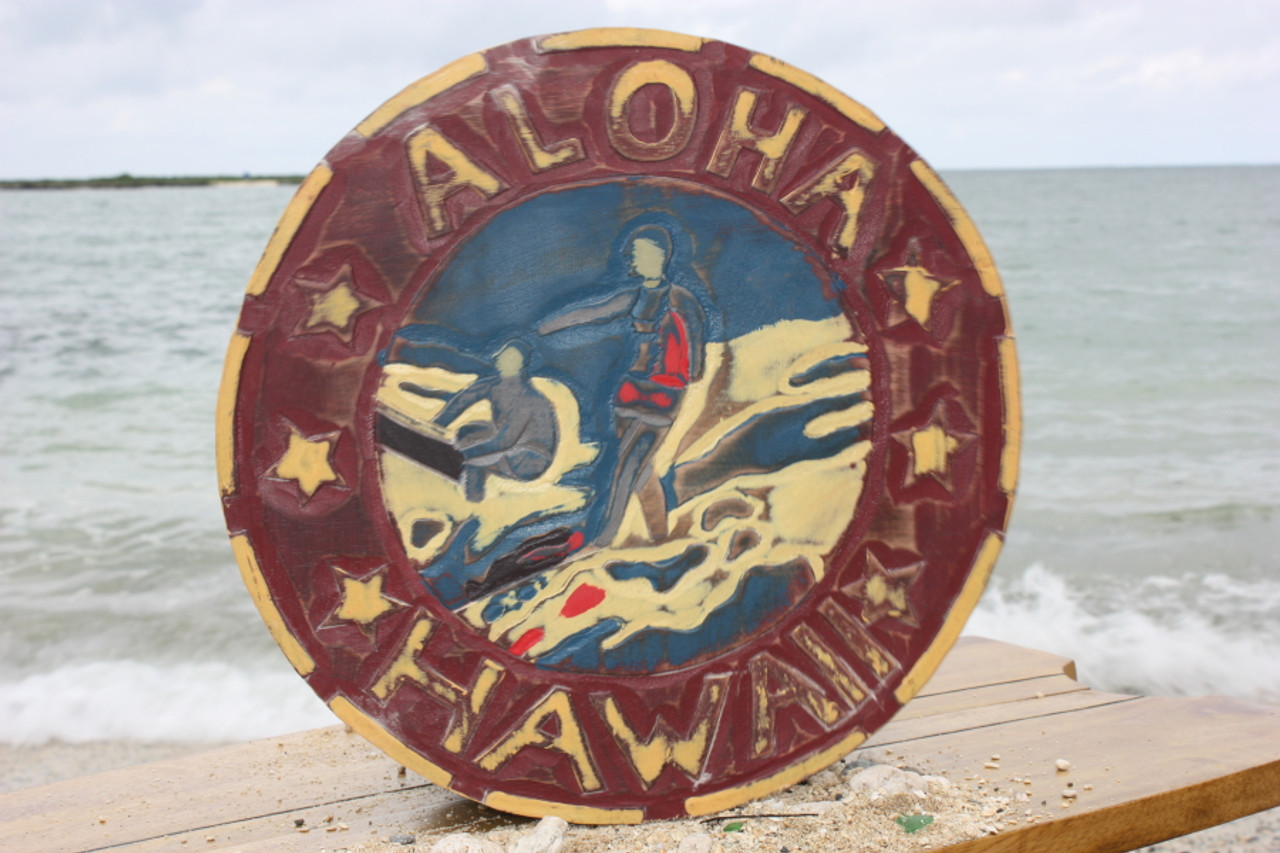 Quot Aloha Hawaii Quot Vintage Surf Sign 16 Quot Made In Hawaii