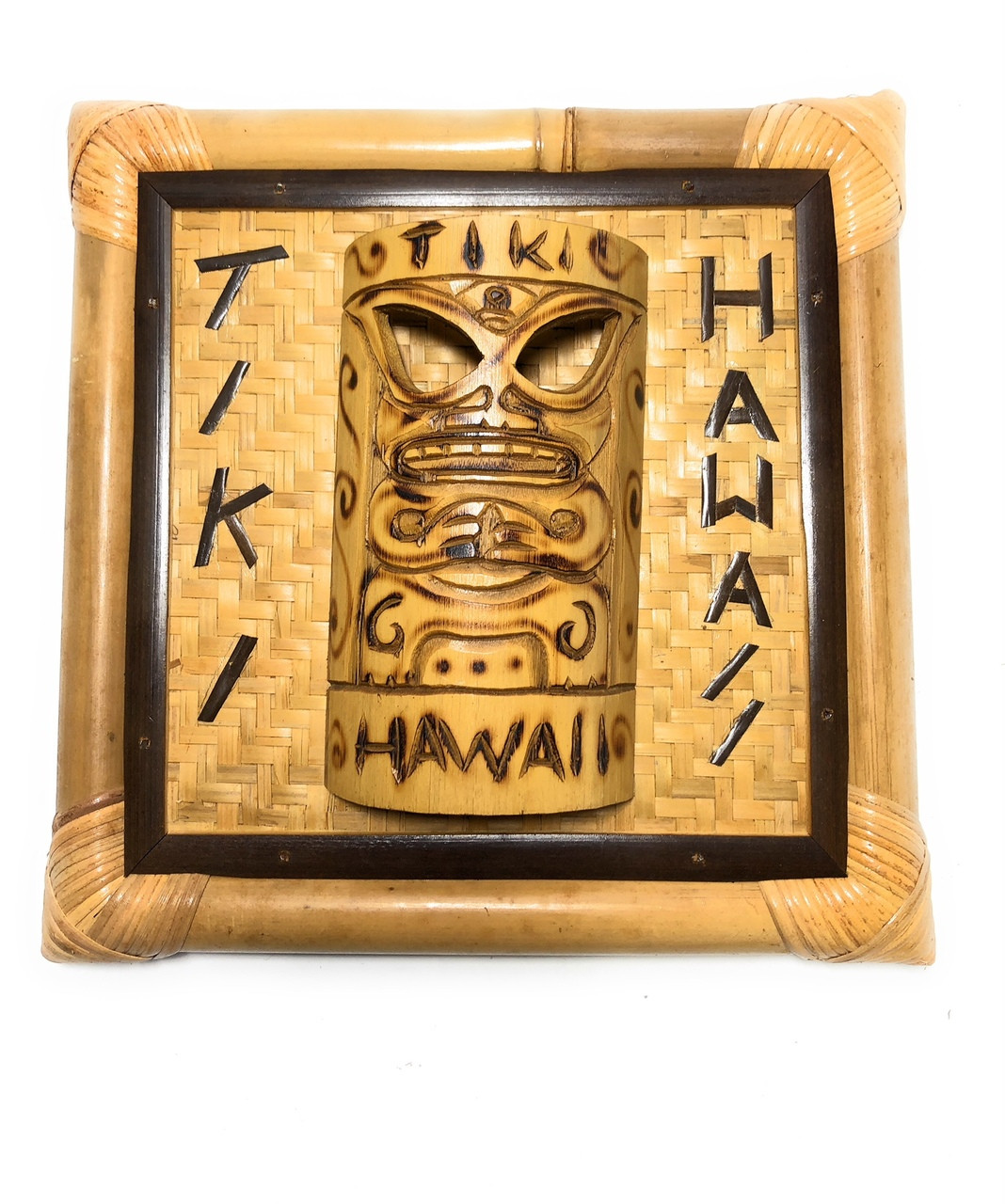Tiki, Hawaii Bamboo Sign w/ Mask 12\