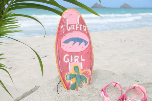 """SURFER GIRL"" SURF SIGN W/ FIN 14"" - SURFING DECOR"