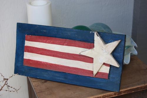 "Wooden U.S.A Flag Hanging Sign 16"" - Americana Decor"