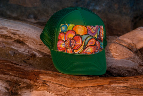 "Aloha Trucker Hats ""Botanical Bloom"" - Hand Stitched in Hawaii"