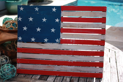"Wooden U.S.A Flag on Planks 20"" - Americana Decor"