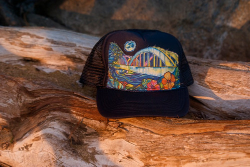 "Aloha Trucker Hats ""Rainbow Bridge"" - Hand Stitched in Hawaii"
