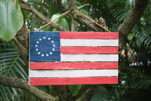 "Wooden U.S.A Flag on Planks 14"" - Americana Decor"