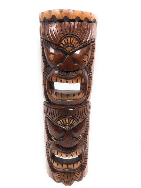 """Beautiful Happiness & Lucky Tiki Mask 24"""" Hand Carved 