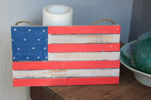 "Wooden U.S.A Flag on Planks 14"" - Americana Decor 2"