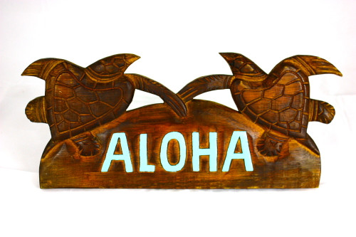 "Turquoise Aloha Sign w/ Turtles 12"" - Hawaii Decor 