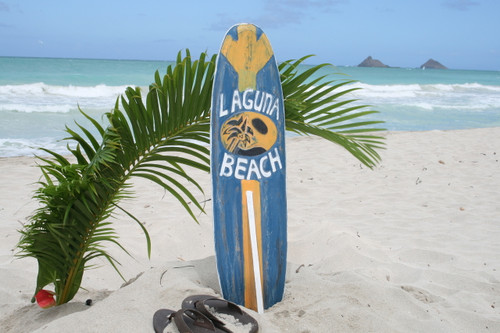 """LAGUNA BEACH"" SURF SIGN W/ FIN 40"" - SURFING DECOR"