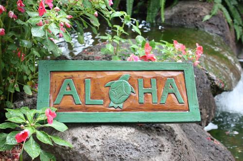 """ALOHA"" TURTLE TIKI SIGN 16"" CARVED/PAINTED - HOME DECOR"