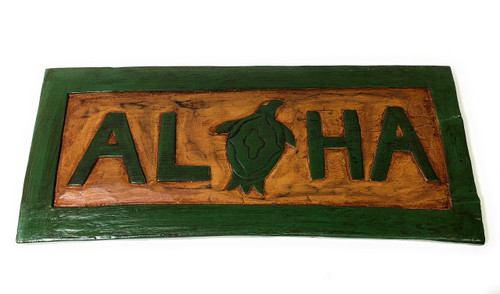 "Aloha Sign 16"" w/ Turtle (Honu) - Hand Carved Welcome Sign 