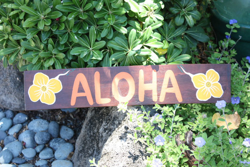 "Wooden Aloha Sign w/ Hibiscus 20"" - Tiki Bar Decor 
