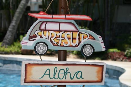 """SURF'S UP, ALOHA"" WOODY CAR SIGN - SURF DECOR"