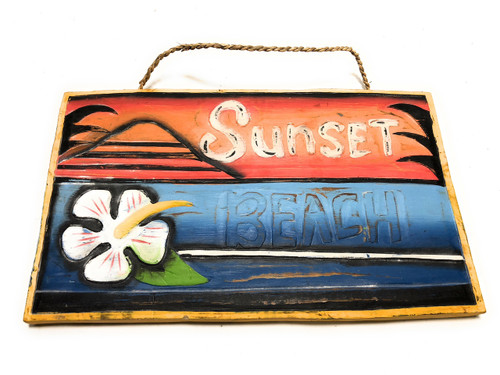 "Sunset Beach Surf Sign 15"" X 12"" - Rustic Surf Decor 