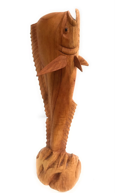 "Standing up Wooden Mahi Mahi 20"" Hand Carved 