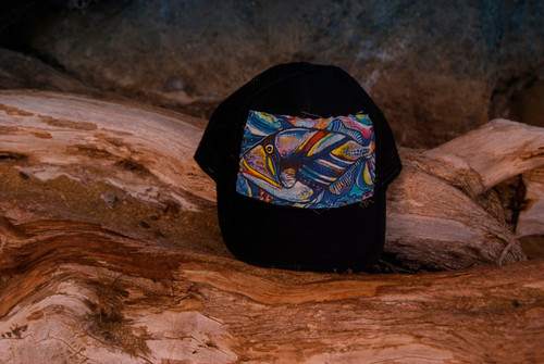 "Aloha Trucker Hats ""Humu Fish"" - Hand Stitched in Hawaii"