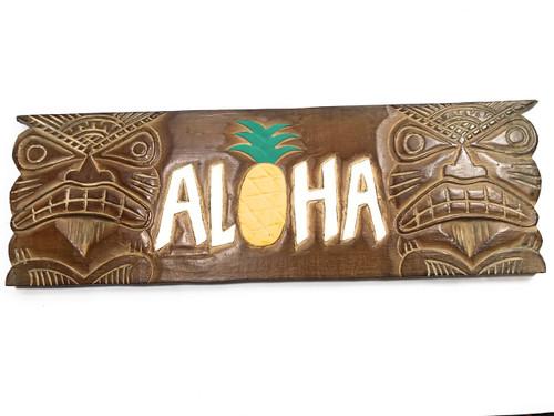 """ALOHA"" Tiki Sign w/ Pineapple 24"" - Hand Carved | #dpt507260"