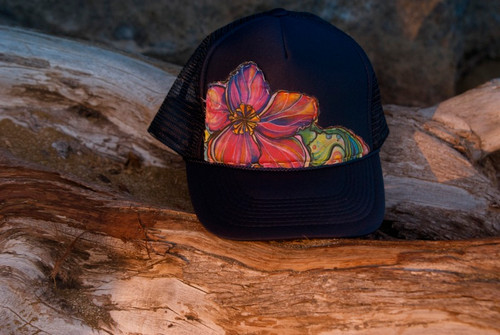 "Aloha Trucker Hats ""Juicy Bloom"" - Hand Stitched in Hawaii"
