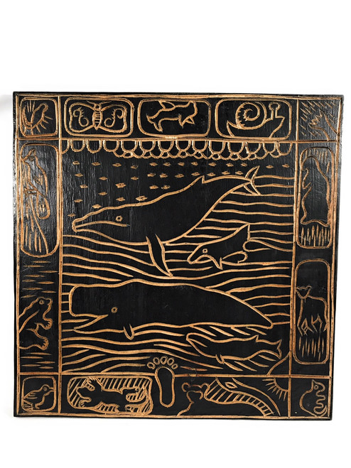 """Whale Scene"" Hand Carved Storyboard 16"" X 16"" - Hawaii Art 