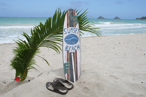 """SUNSET BEACH"" SURF SIGN W/ FIN 40"" - SURFING DECOR"