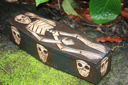 "MEDIUM TREASURE CHEST BOX 12"" - SKULL & BONES DECOR"