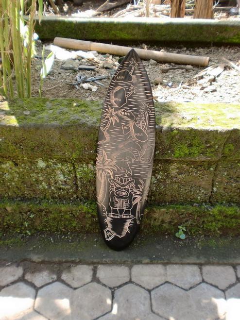 """Wooden Surfboard w/ Hawaiian Islands & Tiki 24"""" - Hawaii Decor"""