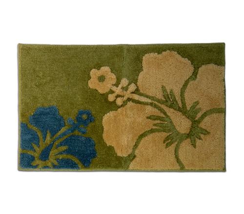 "Hibiscus Rug - Dark Olive 21""x 34"" - Floral Design"