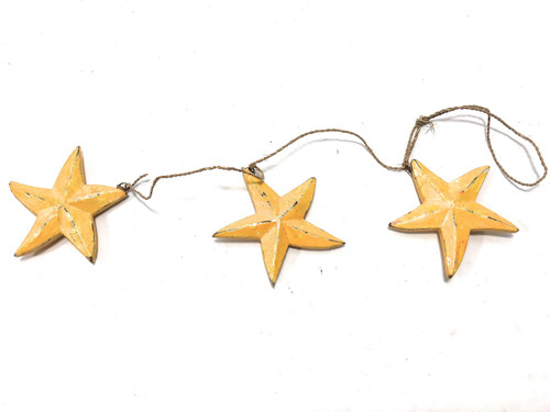 "Garland Set of 3 Starfish 12"" - Yellow Coastal Accent 