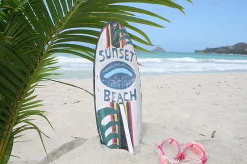 """SUNSET BEACH"" SURF SIGN W/ FIN 20"" - SURFING DECOR"