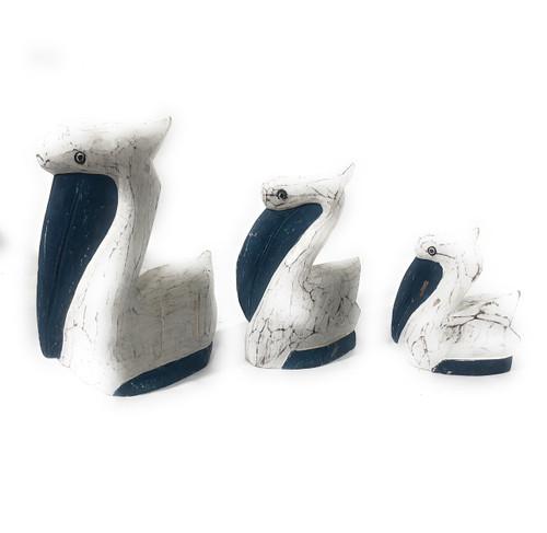 Set of 3 Pelicans - Rustic Blue Coastal Decor | #ata18007b