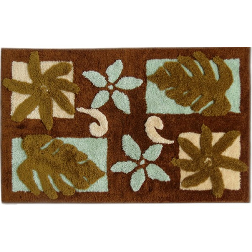 "Tiare Monstera Rug - Brown 21""x 34"" - Floral Design"