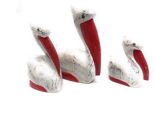 Set Of 3 Pelicans - Rustic Red Coastal Decor | #Ata18007r