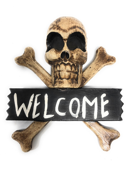 "Welcome Crossbones Sign 10"" - Skull Decor 