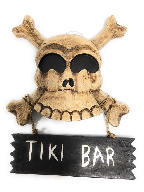 "Tiki Bar Skull Sign 10"" - Crossbones Decor 