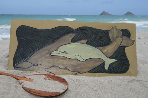 """DOLPHIN W/ CALF 30"""" X 15"""" - ENDANGERED SPECIES - STORYBOARD"""