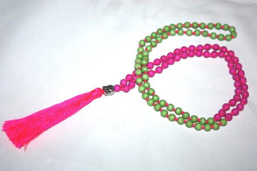 Tassel Necklace Pink/Green Beads Buddha Silver Tone Jewelry | #cik3603gp