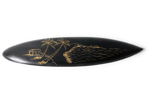 "Surfboard w/ Island Sunrise Scene 16"" - Hawaii Decor 