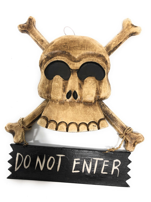 "Do Not Enter Crossbones Sign 12"" - Skull Decor 