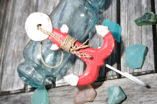 """ANCHOR"" DOOR HOOK - RED COASTAL 6"" - COASTAL DECOR"