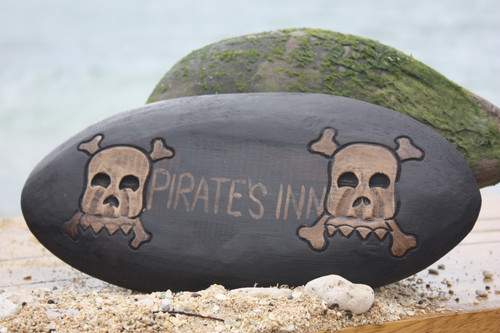 """PIRATES INN"" SKULL AND BONES SIGN - SURF CROSS BONES DECOR"