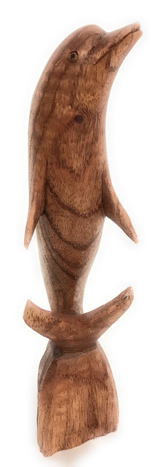 "Carved Dolphin Jumping 8"" Stained - Hand Carved 