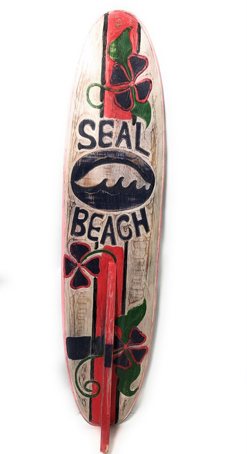 """Seal Beach Rustic Surf Sign 40"""" - Surfing Decor Accents 