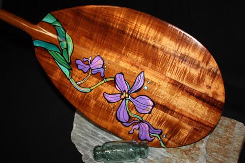 "Painted Hawaiian Flowers Koa Paddle 50"" T-Handle by C. Wilcox"