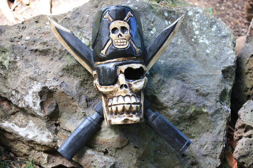 "Captain Skully Hanging Sign 12"" Black - Crossbones Decor"